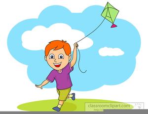 Children Flying Kite Clipart.