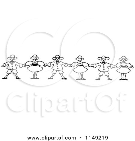 Clipart of a Retro Vintage Black and White Border of Children.