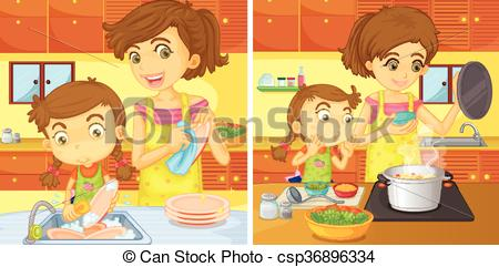Vectors of Girl helping mom in the kitchen illustration.
