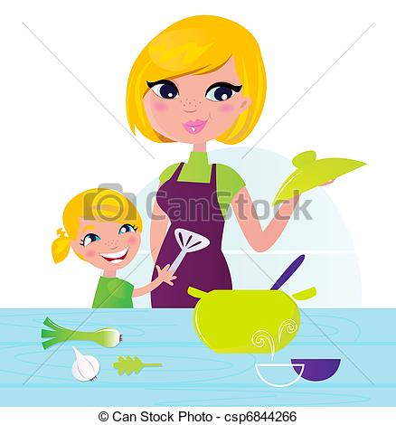 Clip Art Vector of Mother with child cooking healthy food in.