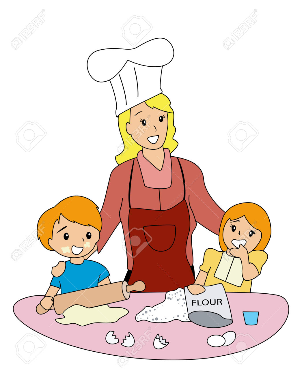 MOther And CHildren Baking Royalty Free Cliparts, Vectors, And.