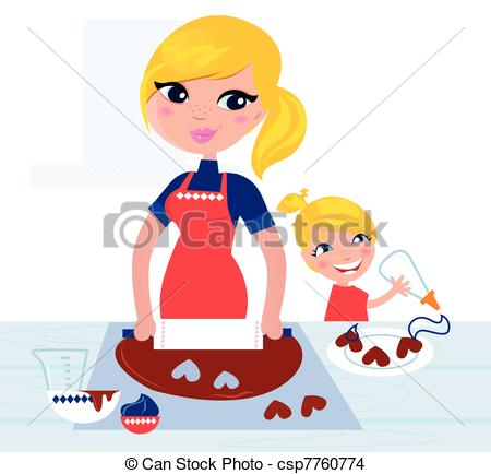 Stock Illustrations of Happy mother helping her daughter cooking.