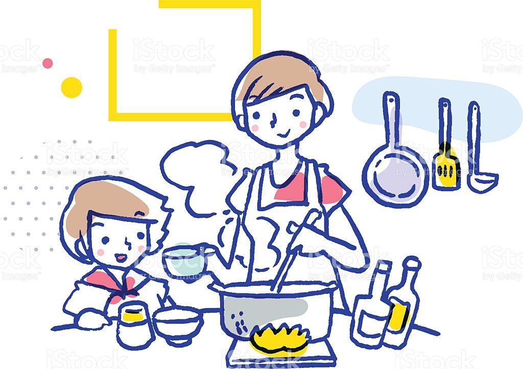 Mom And Daughter Cooking Together stock vector art 520055006.