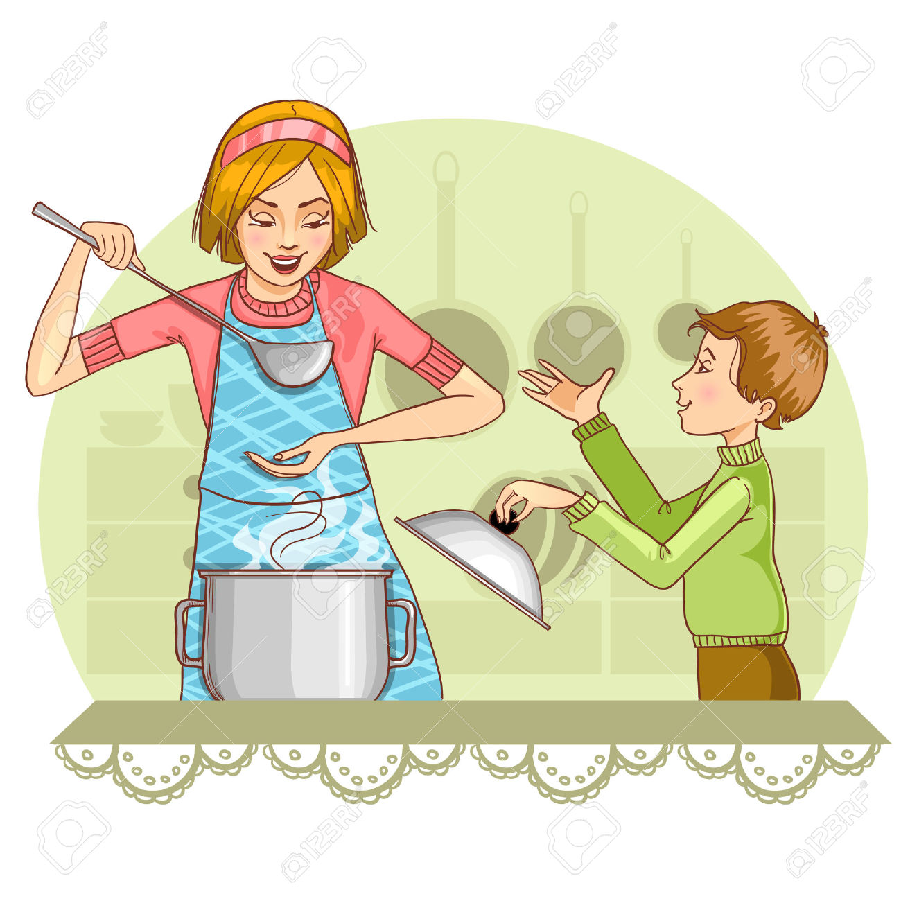 Mother And Son Tests Food In The Kitchen Royalty Free Cliparts.