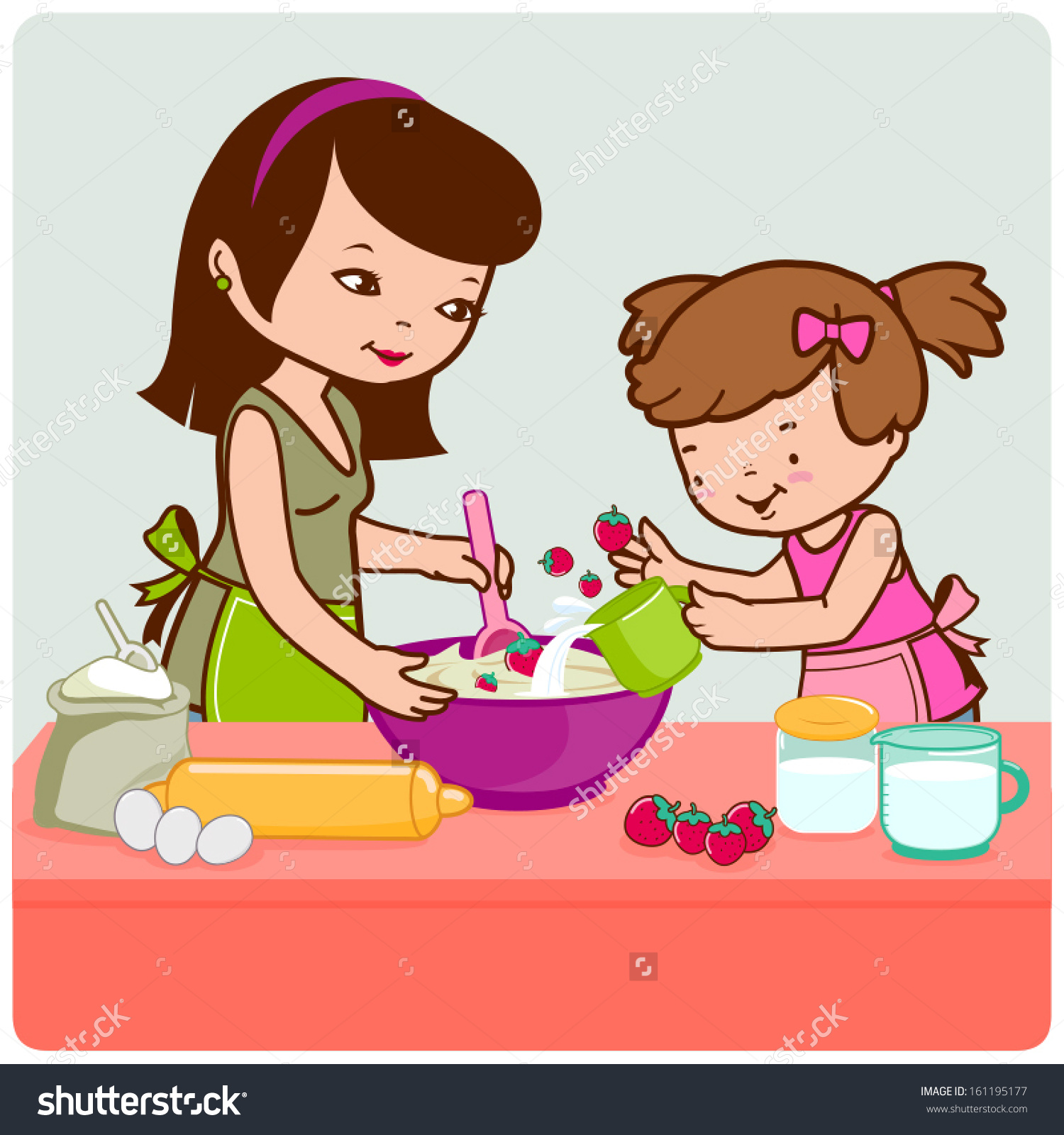 Illustration Mother Her Little Daughter Helping Stock Vector.