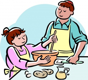 Mother Cooking In The Kitchen Clipart.