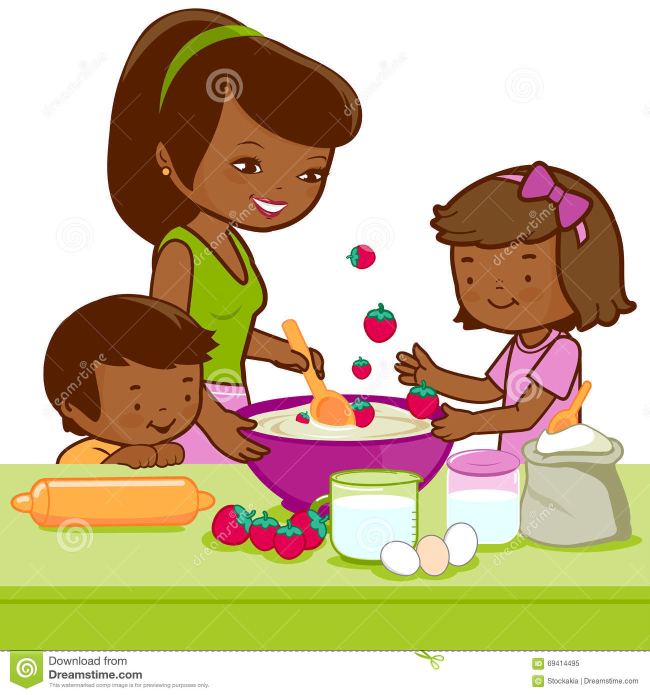 Mother Helping Her Daughter Cooking Kitchen Stock Illustrations.
