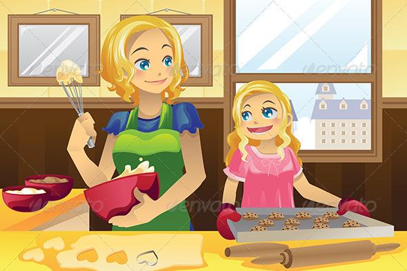 Mother Daughter Baking Cookies.