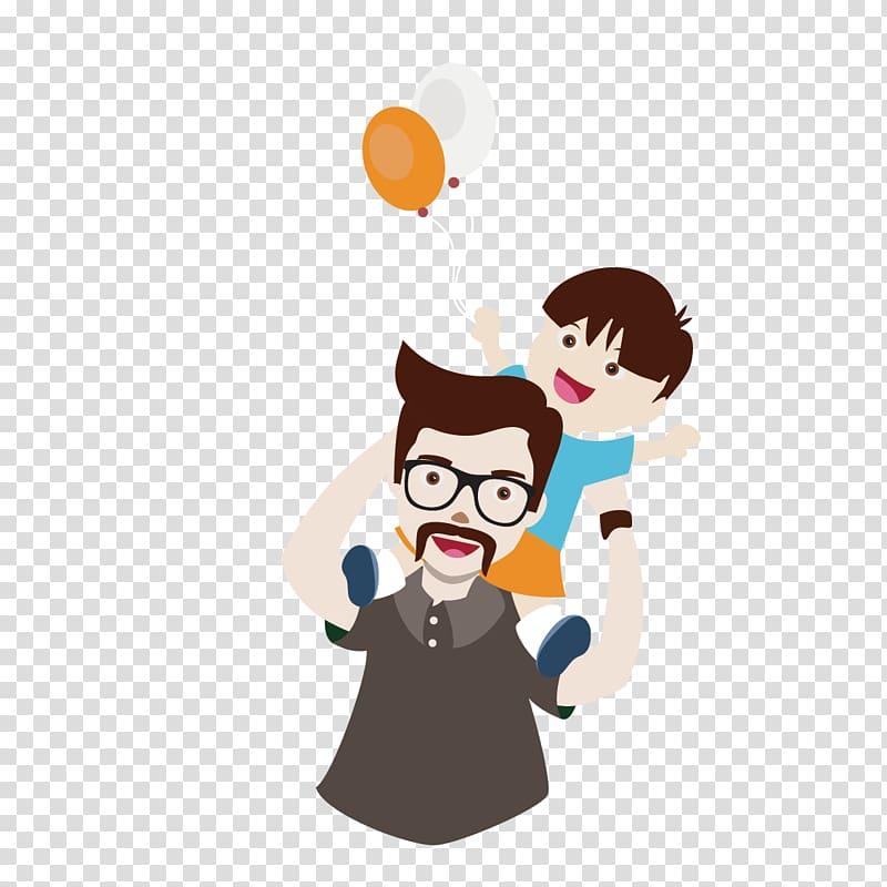 Man carrying boy on back holding balloons illustration.