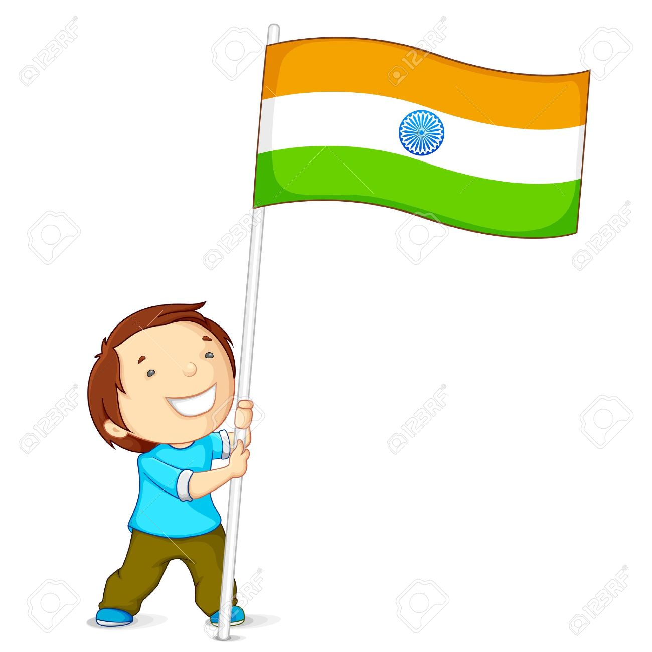 Clipart Child Holding Flag.