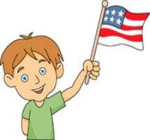 Kids Holding Flag Clipart.