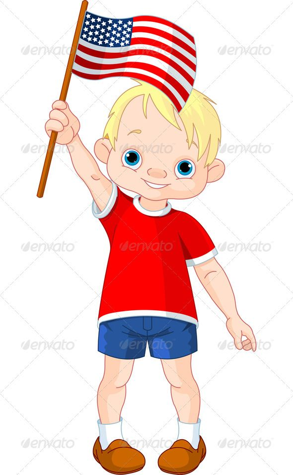 Showing post & media for Cartoon person holding american flag.