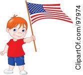 Children Holding Flag Clipart.