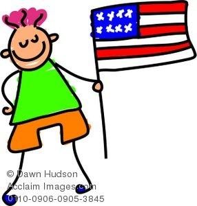 Clipart Child Holding Us Flag.