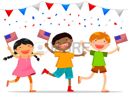 American Children Holding American Flags Royalty Free Cliparts.