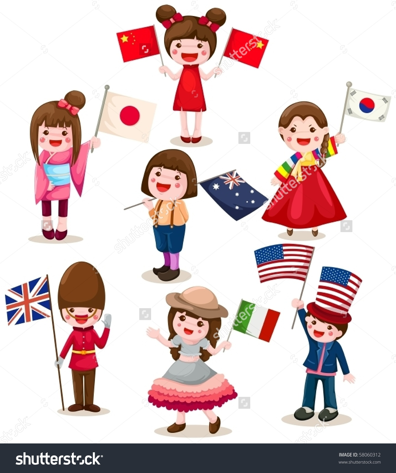 Illustration Isolated Set International Childrens Holding Stock.