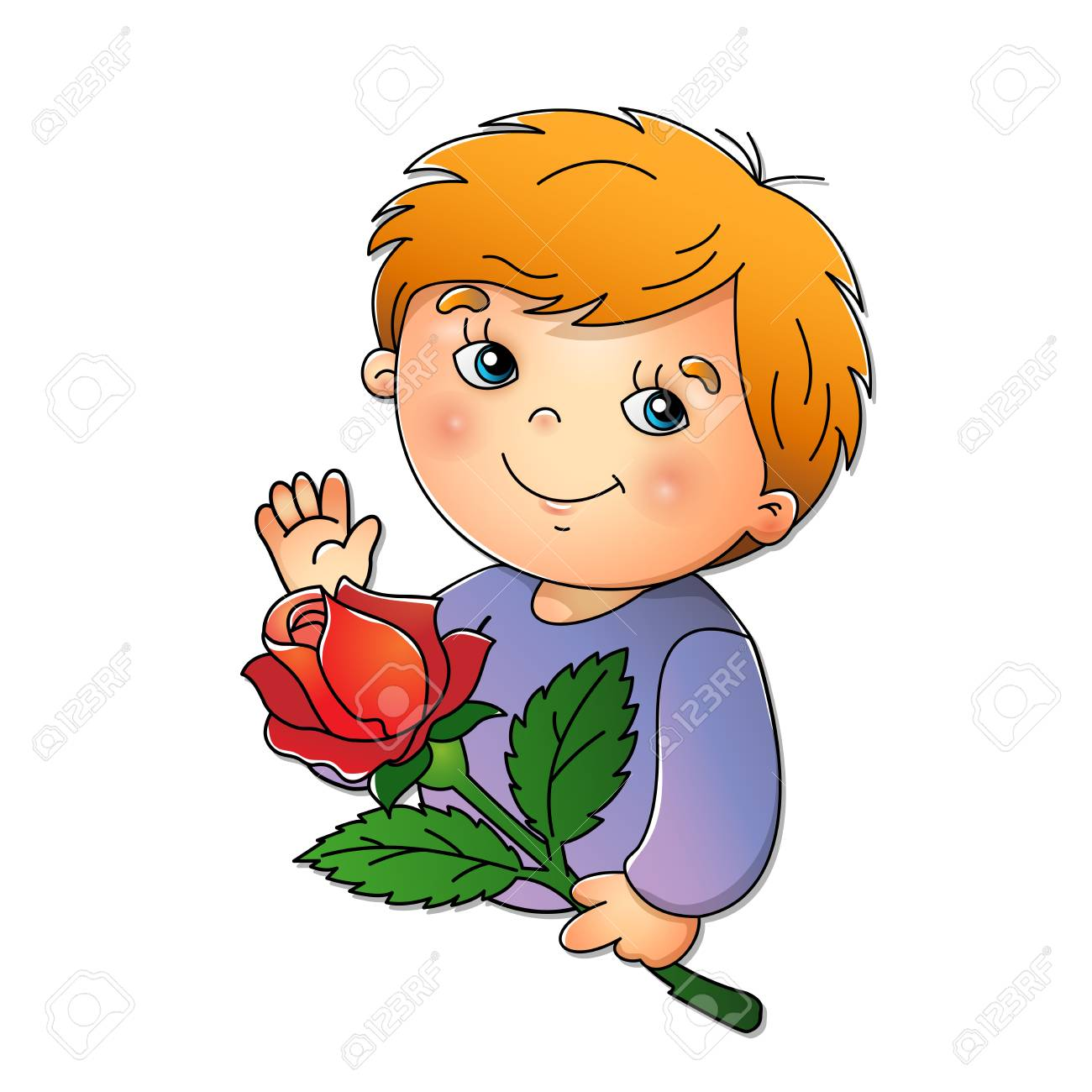 Cute boy holding a flower isolated on white background.