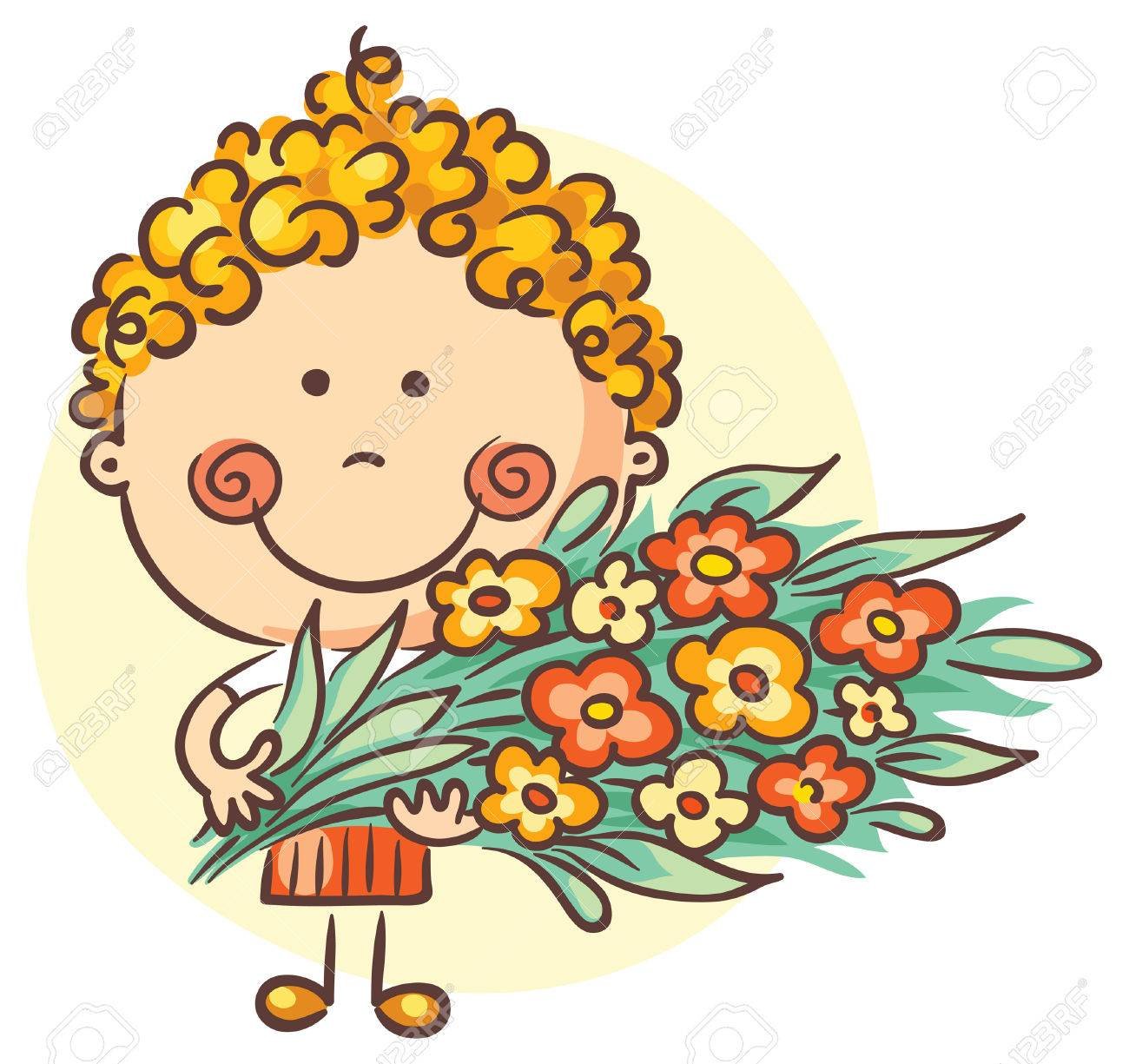 Child holding a big bouquet of flowers.