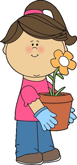 Girl holding a flowerpot.