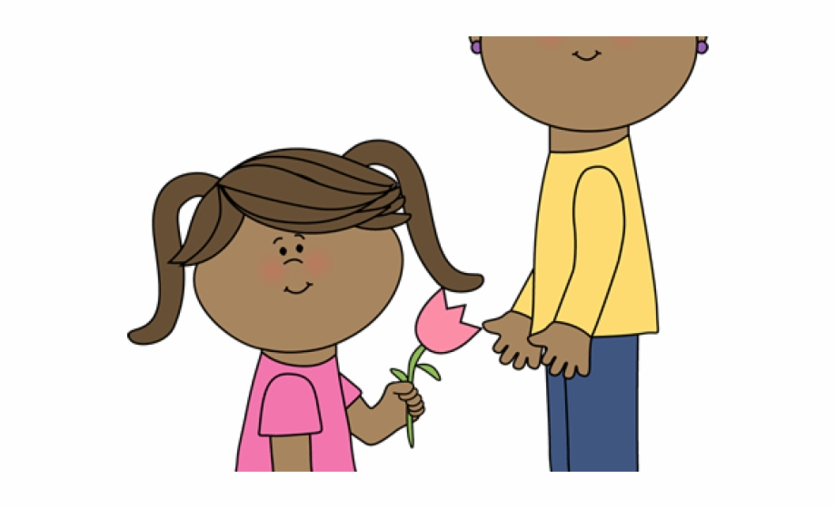 Girl Holding A Flower Clip Art Free PNG Images & Clipart Download.