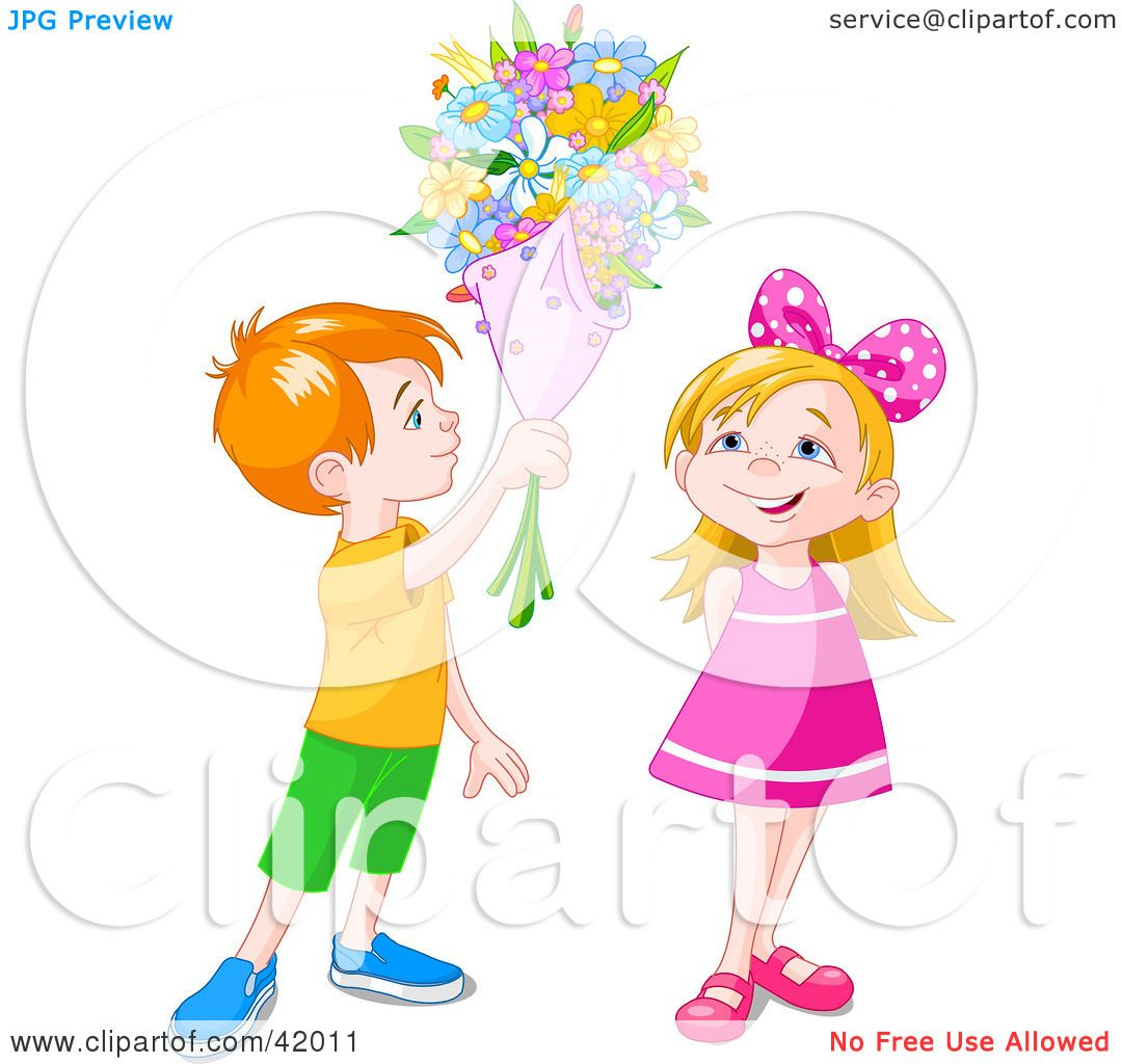 Clipart Illustration of a Red Haired Boy Holding A Flower Bouquet.