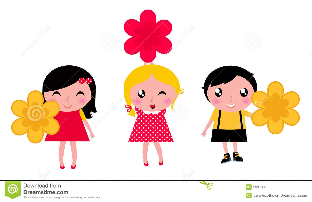 Little Cute Kids With Flowers Stock Vector.