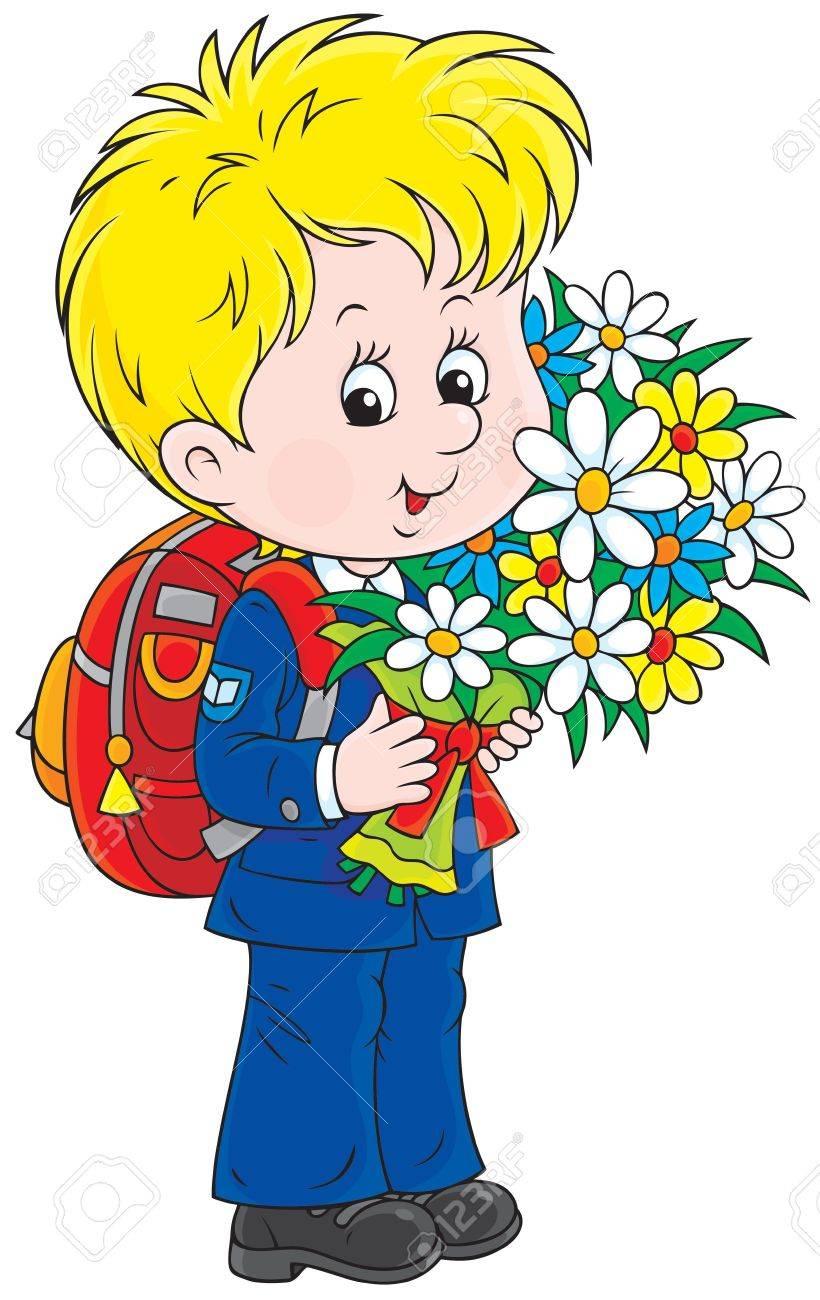 Schoolboy holding flowers.