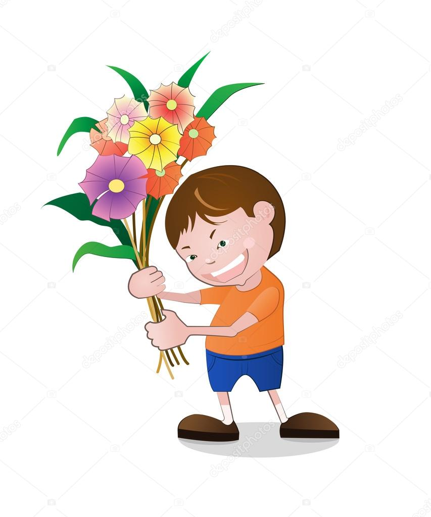 Illustration of boy holding flowers. — Stock Vector © Nongkran_ch.