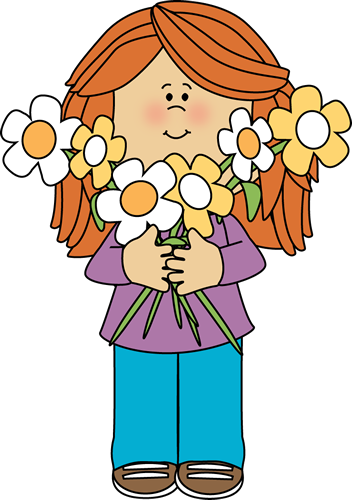 Girl Holding a Bunch of Flowers.
