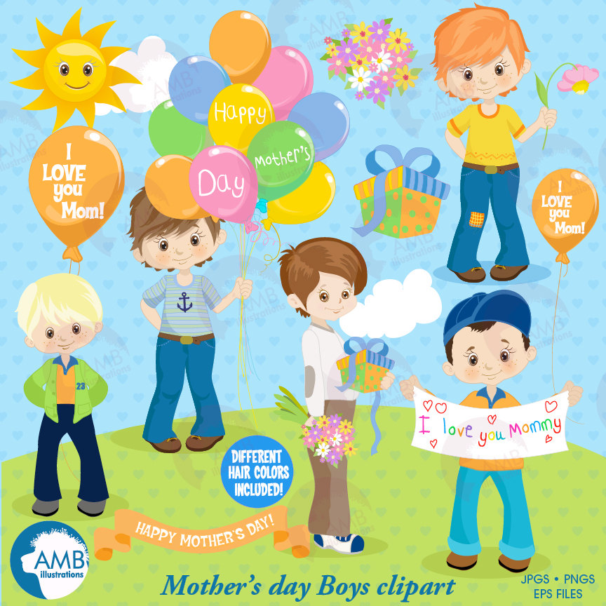 Mothers day Clipart, Mothers Day kids, Mom clipart, boys holding flowers  clipart, fashion kids, digital clip art, AMB.
