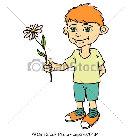 Little boy holding a flower..