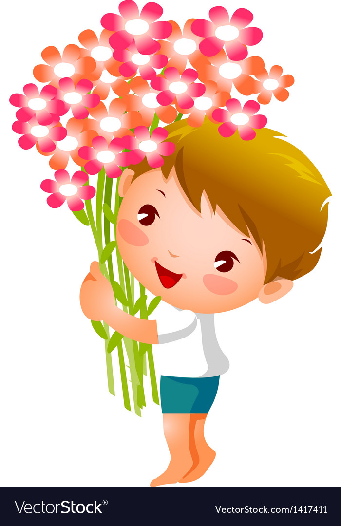 Side view of boy holding flowers.