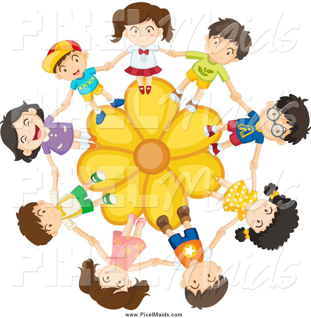 Clipart of a Children Holding Hands on a Yellow Daisy Flower by.