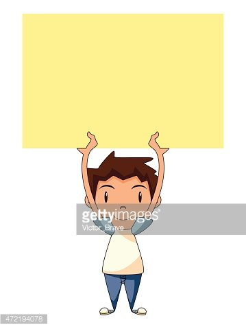 Child holding blank sign, empty yellow note Clipart Image.
