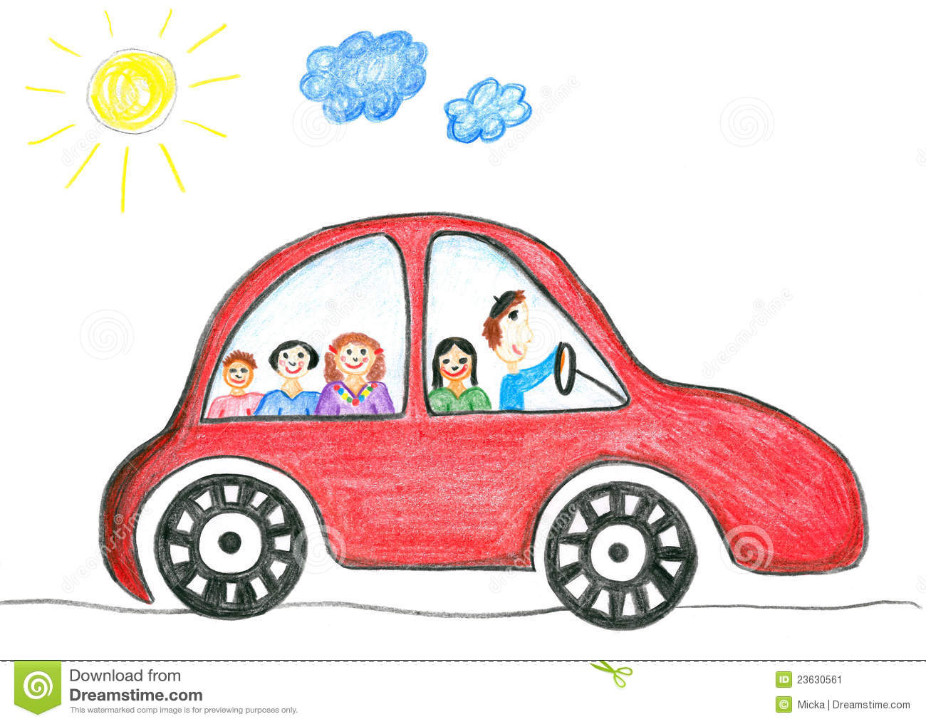 Child In Car Clipart.