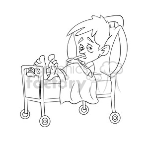 child sick in hospital bed black white clipart. Royalty.