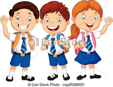 School Children In Uniform Clipart.