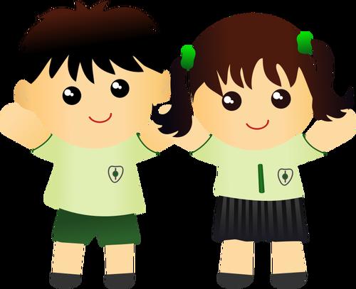 Boy and girl in school uniform vector drawing.