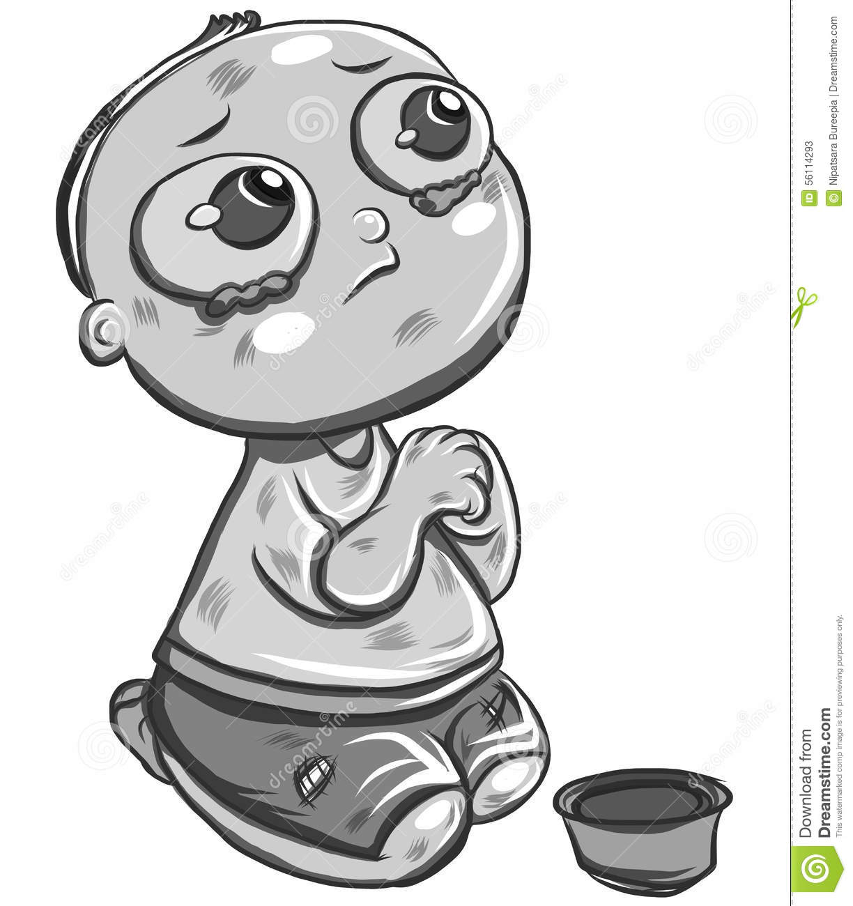 Hand Drawn Child Beggar Vector,sad Child Beggar,stop Child Labour.
