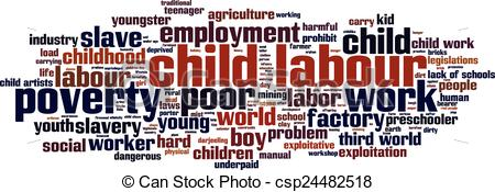 Vector Clip Art of Child labour word cloud concept. Vector.