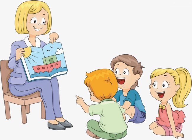 Children Listen To Stories, Children Clipart, Lecture.