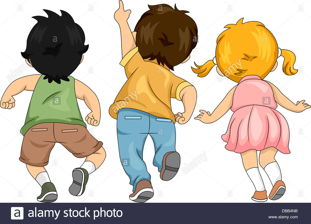 Back View Illustration of Little Male and Female Kids Looking Up and.