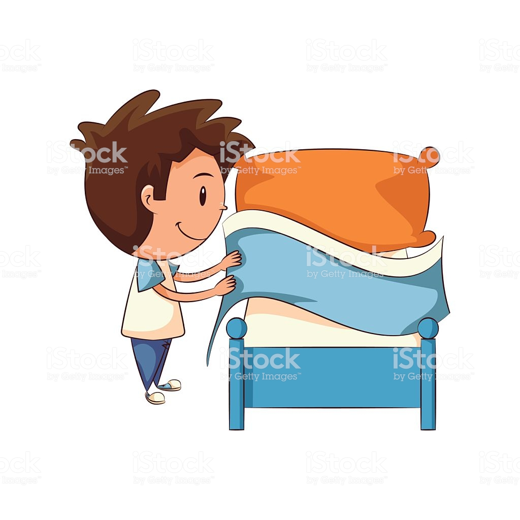 Child Making Bed Stock Illustration.