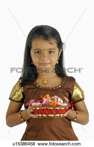 Pictures of flowers girl child model kerala in attire onam.