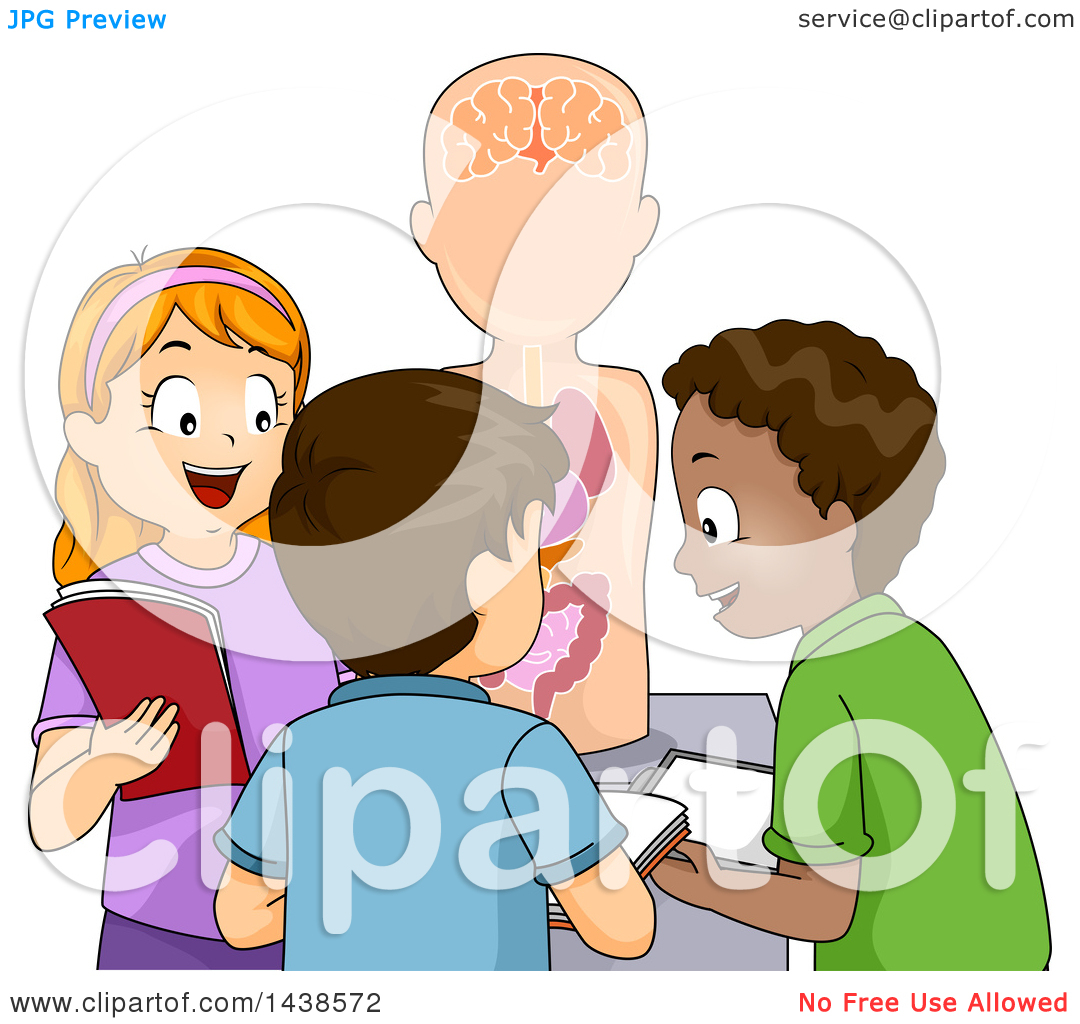 Clipart of a Group of Happy School Children Studying an Anatomical.