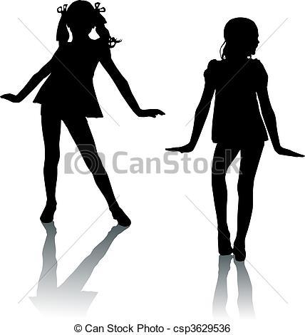 Clip Art Vector of Silhouette fashion children csp3629536.