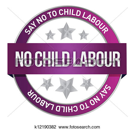Clipart of Say No To Child Labour seal k12190382.