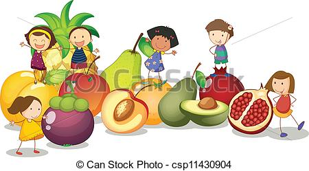 Clipart Vector of Fruits Kids.
