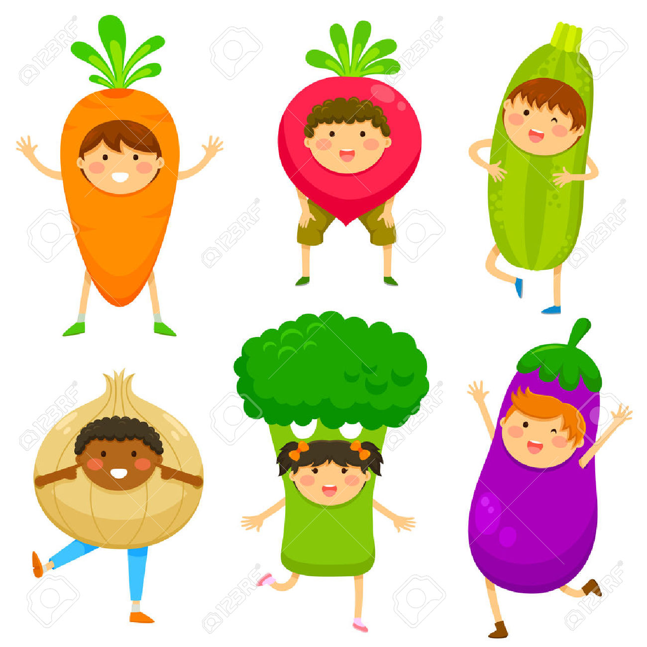 Children Dressed Like Vegetables Royalty Free Cliparts, Vectors.