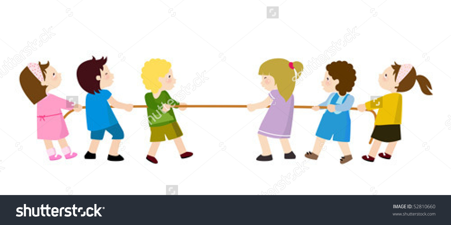 Kids Playing Tug War Stock Vector 52810660.